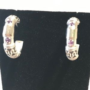 Sterling 925, 2 amethyst stone & gold FIRM